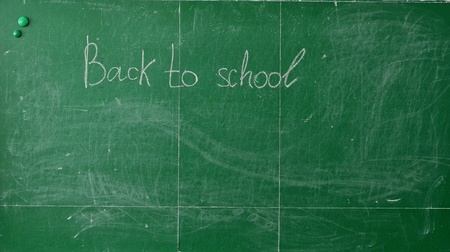Green chalk blackboard written Back To School with white chalk photo