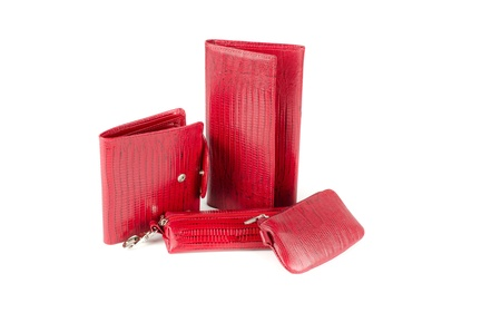 Leather female red accessories on a white photo