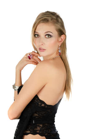 beautiful blond woman portrait on white background Stock Photo - 14711185
