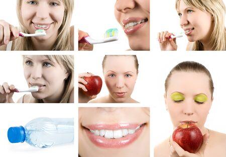 Beautiful woman and healthy teeth  Dental health  Collage  photo