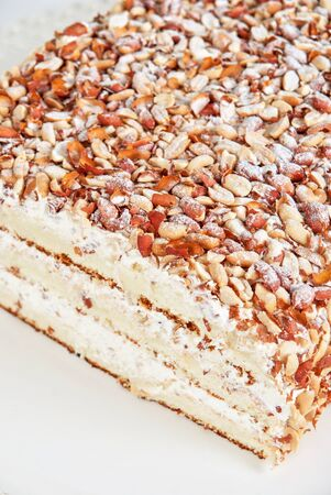 nuts cake closeup isolated on a white Stock Photo - 15227505