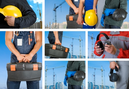 home safety: workers with equipment on building background sets