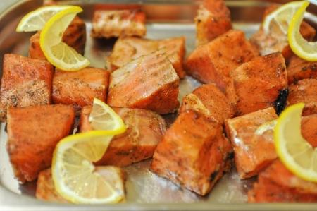 marinated: marinated salmon shashlik closeup photo