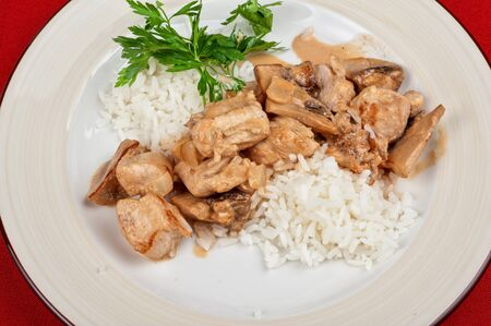 rice with meat and greens - tasty dish photo