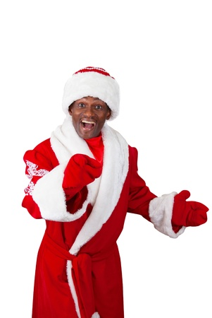 surprised black santa claus on a white background