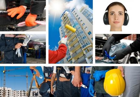 lavoratori con attrezzature sulla costruzione di set di sfondo