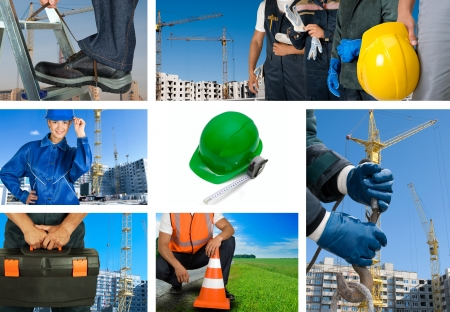 specialists: workers with equipment on building background sets