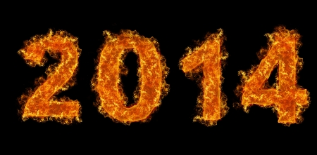 2014 year text on fire  photo
