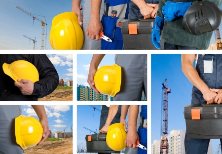 workers with equipment on building background sets photo
