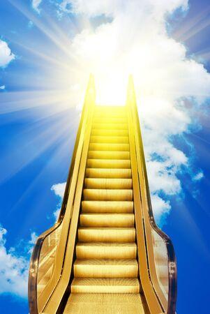 golden ladder to blue sky sunset photo