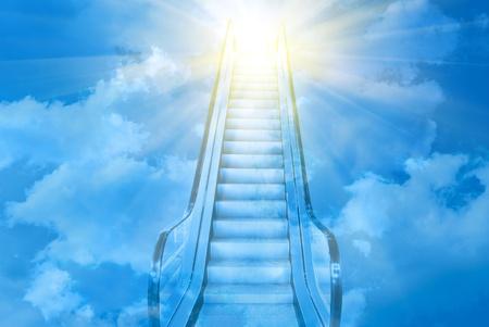 blue ladder to blue sky sunset photo