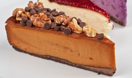 slice of cheesecake with chocolate and nuts Stock Photo - 18968151