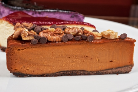 slice of cheesecake with chocolate and nuts Stock Photo - 19265405