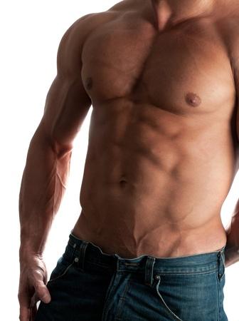 Muscular male torso of bodybuilder on white background photo