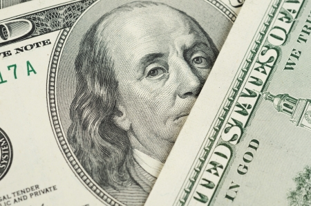 us currency: Close up view of dollar banknote