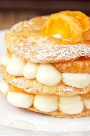 millefeuille with tangerine tasty dessert Stock Photo