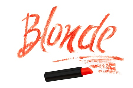 Inscription lipstick 'blonde'  isolated on white background photo