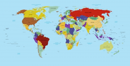 map of asia: world map in russian
