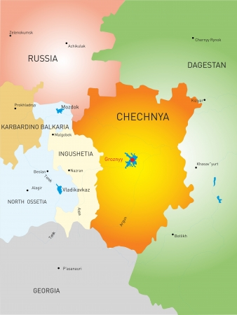 caucasus: Vector map of Chechen Republic country