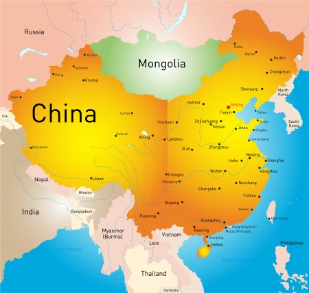 vector map of China country Vector