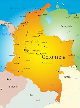 Carte vectorielle de la Colombie pays Banque d'images - 23546935