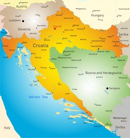 bosnia and hercegovina: vector map of Croatia country