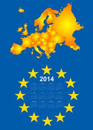 2014 calendar with europe map Vector