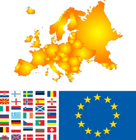 Europe map with flags vector image Vector