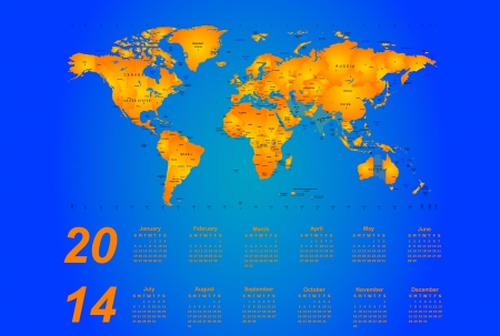 Timezone map - vector color calendar 2014 Vector