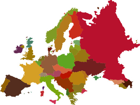 Europe map color vector image Vector
