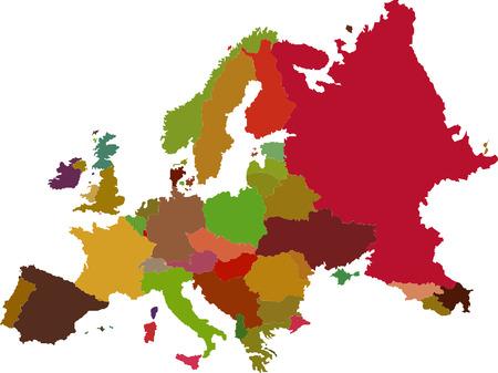 Vector de imagen de mapa de color Europa Foto de archivo - 23546944