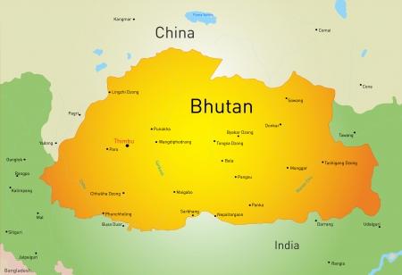 bhutan: Vector kaart van Bhutan land