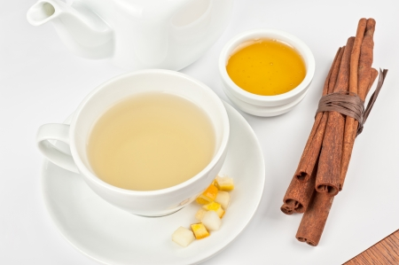 Cup of hot linden tea with cinnamon sticks, and honey Stock Photo - 23547071