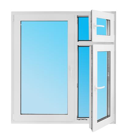 Plastic window on white background photo