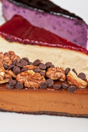slice of cheesecake with chocolate and nuts photo