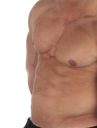 Muscular male torso of bodybuilder on white background photo