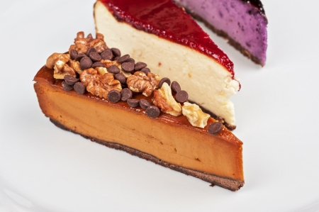 slice of cheesecake with chocolate and nuts Stock Photo - 25056992