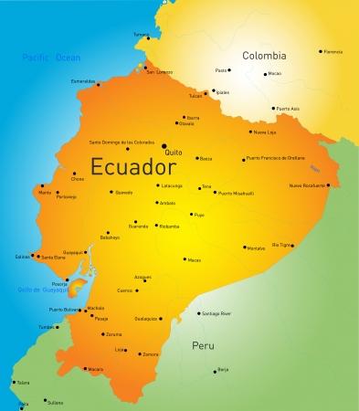 エクアドル国の抽象的なベクトル カラー マップ