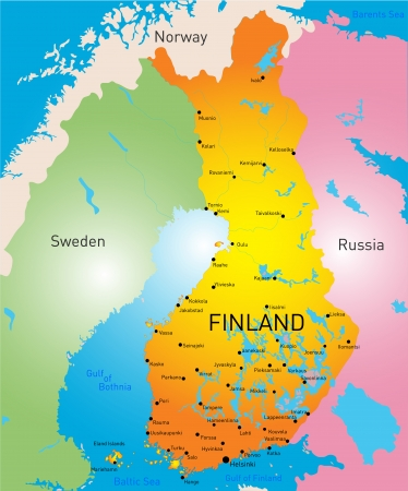 lapland: vector color map of Finland country