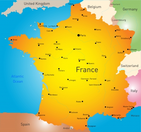 vector color map of France country Vector