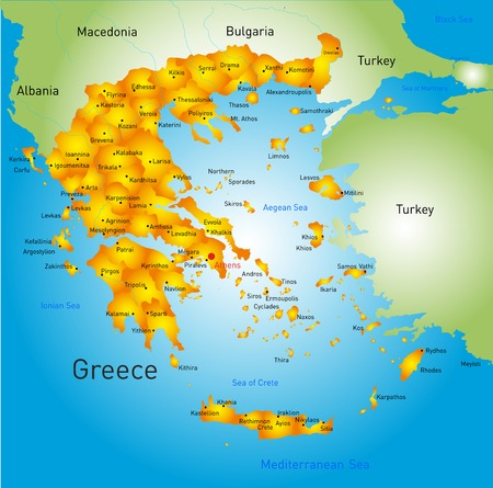 aegean: Detailed map of Greece country Illustration