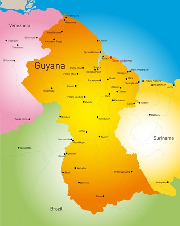 georgetown: Detailed map of Guyana country