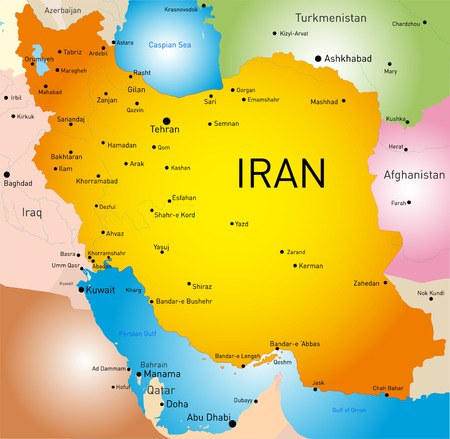 Vector detailed map of Iran country