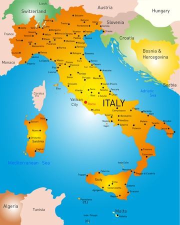 vector detailed map of Italy country Vector