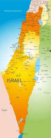 vector detailed map of Israel country Vector