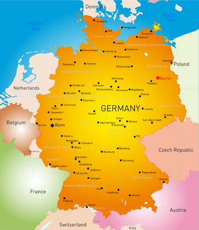 Vector detailed map of Germany country Vector