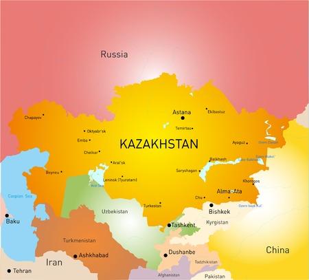 Vector detailed kazakhstan country map Vector