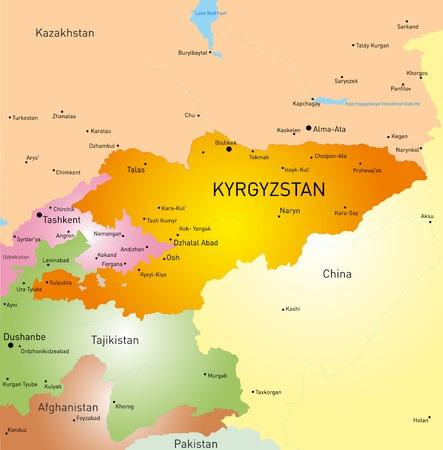 landlocked country: Mapa vectorial detallado de Kirguist�n pa�s Vectores