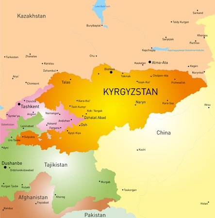 tajikistan: Vector detailed map of Kyrgyzstan country