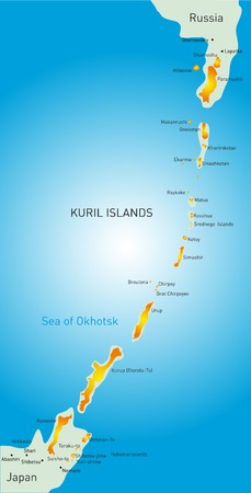 Vector detailed map of Kuril island
